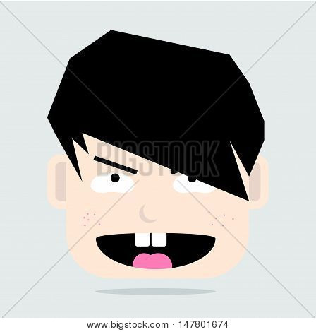 Simple Cartoon Face of Pervert Cute Boy