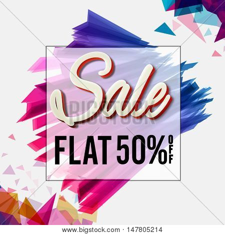 Sale with Flat 50% Off, Colorful abstract background, Sale Poster, Banner or Flyer design, Creative vector illustration.