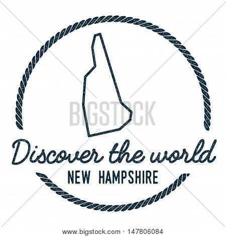 New Hampshire Map Outline. Vintage Discover The World Rubber Stamp With New Hampshire Map. Hipster S