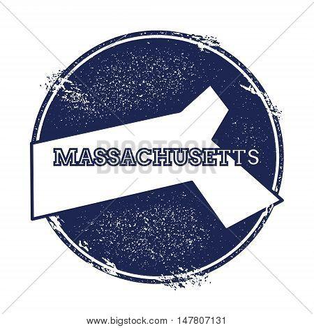 Massachusetts Vector Map. Grunge Rubber Stamp With The Name And Map Of Massachusetts, Vector Illustr