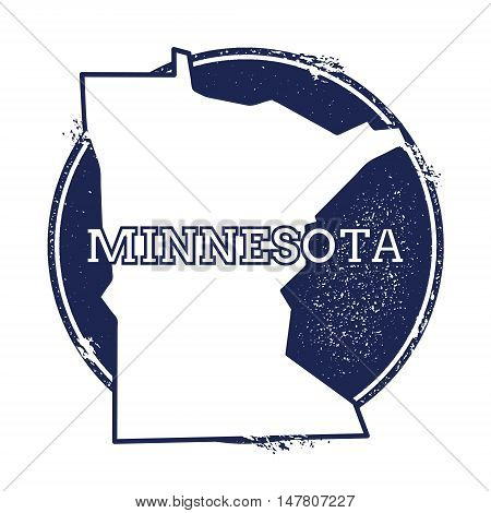 Minnesota Vector Map. Grunge Rubber Stamp With The Name And Map Of Minnesota, Vector Illustration. C