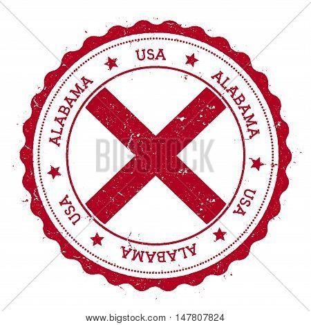 Alabama Flag Badge. Grunge Rubber Stamp With Alabama Flag. Vintage Travel Stamp With Circular Text,