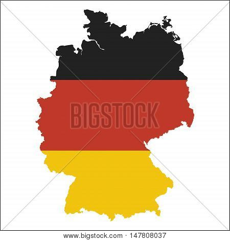 Germany High Resolution Map With National Flag. Flag Of The Country Overlaid On Detailed Outline Map