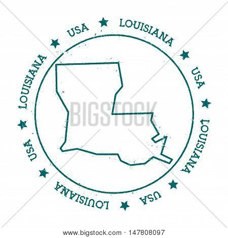 Louisiana Vector Map. Retro Vintage Insignia With Us State Map. Distressed Visa Stamp With Louisiana