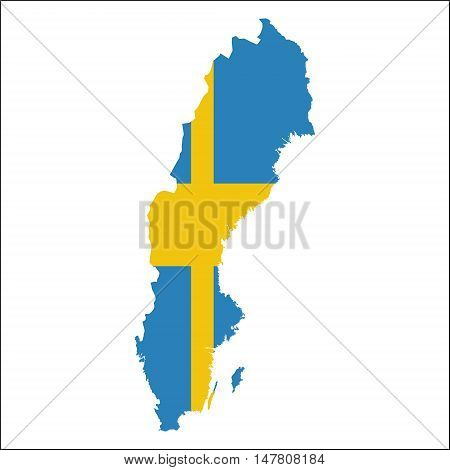 Sweden High Resolution Map With National Flag. Flag Of The Country Overlaid On Detailed Outline Map