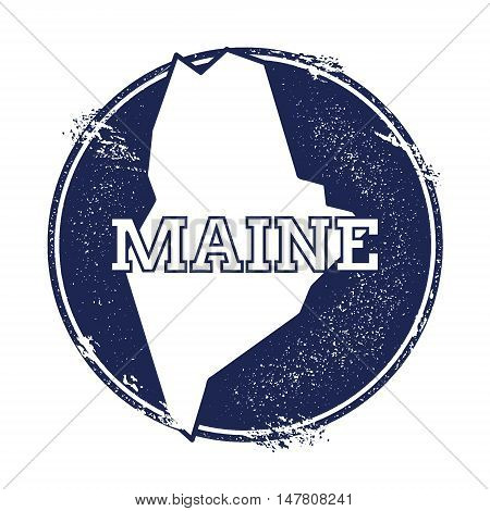 Maine Vector Map. Grunge Rubber Stamp With The Name And Map Of Maine, Vector Illustration. Can Be Us