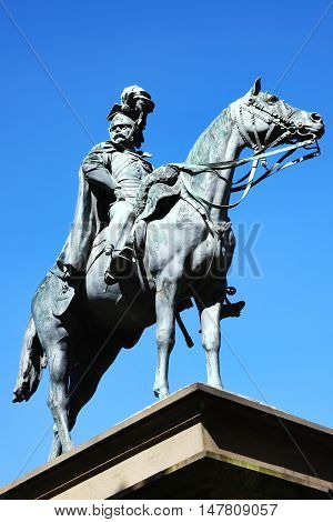 Cardiff, Wales, UK, August 31, 2016 :  Equestrian Statue of Godfrey Charles Morgan, 1st Viscount Tredgar in Gorsedd Gardens who took part in the Charge of the Light Brigade