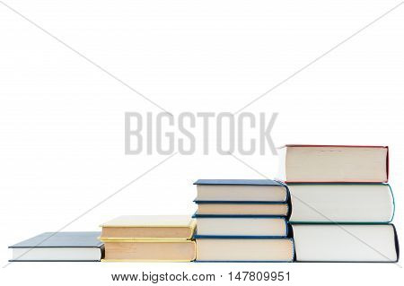 Stairs of book for education and culture growth isolated on white