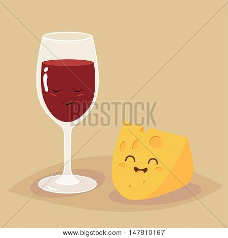 Glass of wine and cheese illustration. Vector cartoon. Friends forever. Comic characters.