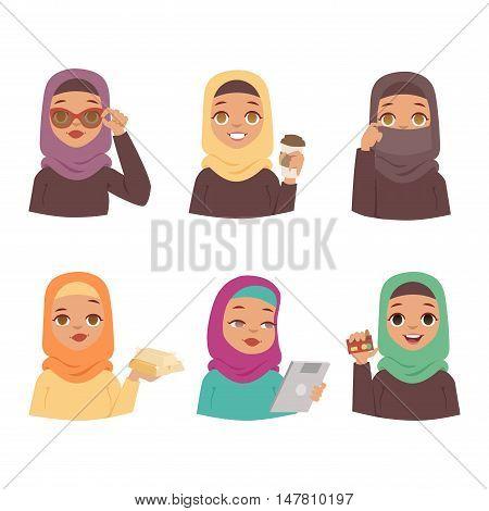 Muslim religious women set traditional islamic adult. Cute cartoon arabic girls traditional dress pretty ethnicity religious people. Business collection arabic women ethnic portrait beautiful hijab.