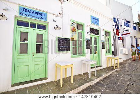 APOLLONIA SIFNOS GREECE, AUGUST 26 2016: famous shop with sweets and donuts at Sifnos island Cyclades Greece. Editorial use.