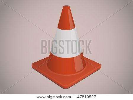 Orange traffic or safety cone with white stripe