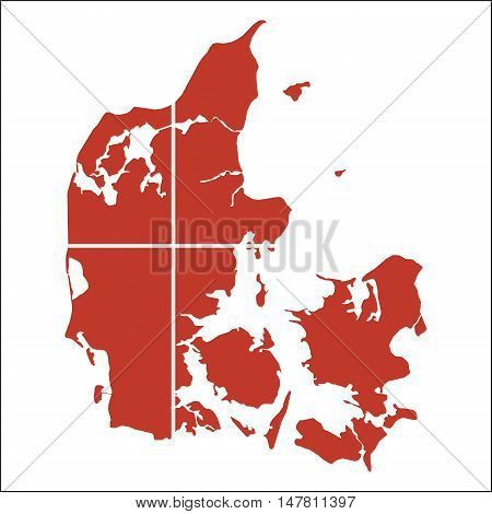 Denmark High Resolution Map With National Flag. Flag Of The Country Overlaid On Detailed Outline Map
