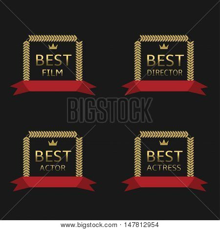 Best film, best actor, best director, best actress awards. Golden laurel wreath label set