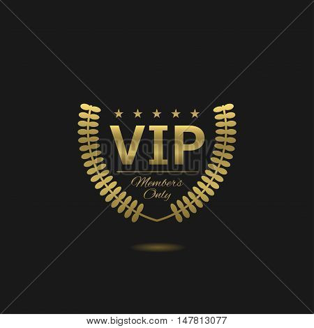 Vip label Members only Golden laurel wreath badge