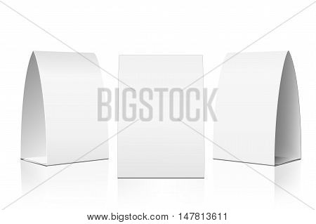 Blank Table Tent isolated on white background. Paper vertical cards on white background with reflections. Front, left and right view. Vector illustration.