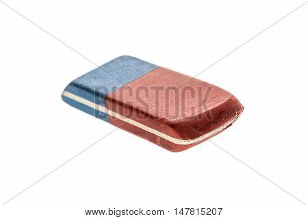 Used Blue And Red Rubber Pen Eraser Isolated On White
