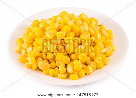 Corn conserve in plate isolated on white background