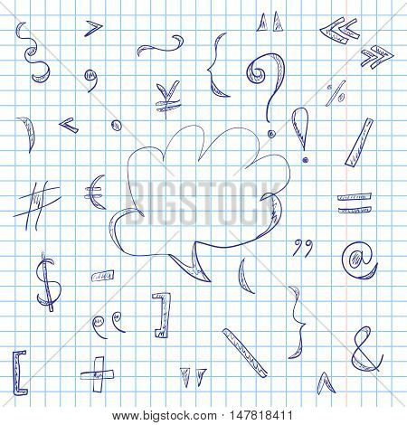 Hand Drawn Scribble Symbols and Speech Bubble on a Sheet of Copybook in a Cage. Doodle Style. Vector Illustration.