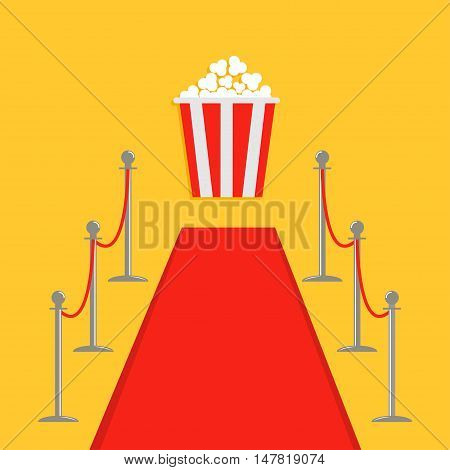 Red carpet and rope barrier golden stanchions turnstile Popcorn box. Isolated template Yellow background. Flat design Vector illustration