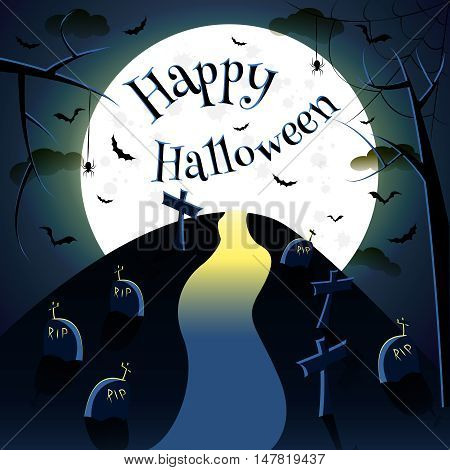 Halloween background with phrase Happy Haloween, element for design, vector illustration