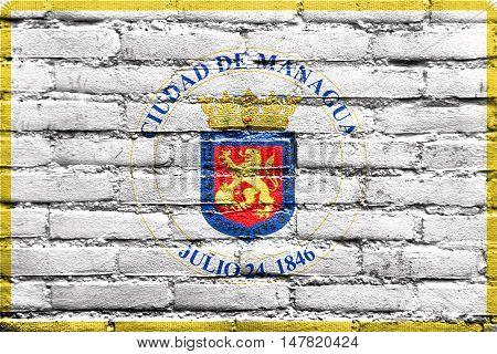 Flag Of Managua, Nicaragua, Painted On Brick Wall