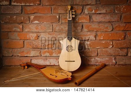 Renaissance Violin (rebec), Lute (citole) And Alto Recorder