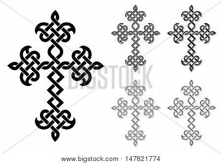 Traditional Armenian Apostolic Church plaited crosses set. Vector illustration