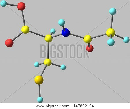 Acetylcysteine is a medication used to treat paracetamol overdose and to loosen thick mucus such as in cystic fibrosis or chronic obstructive pulmonary disease. 3d illustration