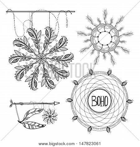 Vector illustration of  Boho Style Frames, logos and hand drawn element. Ornament vintage symbol element, decoration drawing collection, flyer, baner, card, brochure.