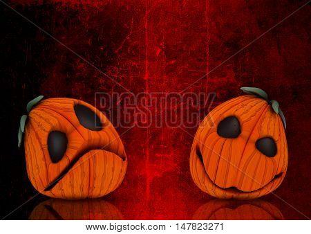 3D render of Halloween pumpkins on a grunge style background