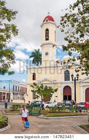 CIENFUEGOS CUBA - February 05 2008. Cathedral Of The Immaculate Conception. Street life. Pupils walking home from school.