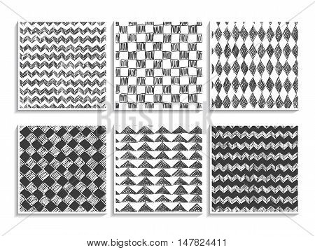Doodle Patterns Set Sketch Textures Geometric Black