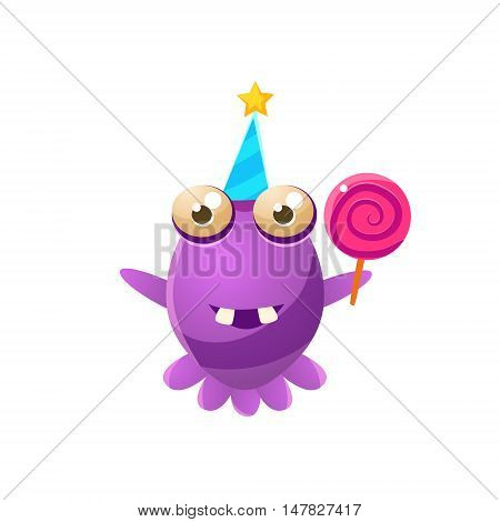 Purple Toy Monster In Party Hat Holding A Lollypop Cute Childish Illustration. Cartoon Colorful Alien Character With Party Attribute Isolated On White Background.