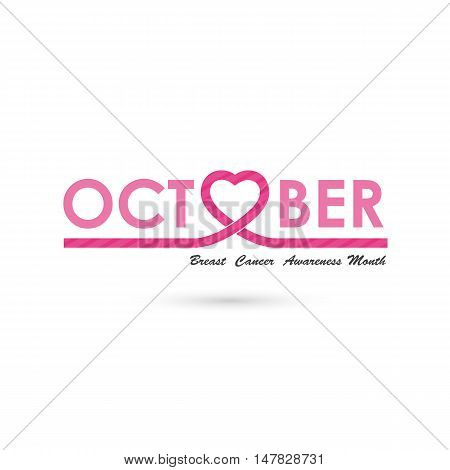 Breast cancer awareness logo design.Breast cancer awareness month icon.Realistic pink ribbon.Pink care icon.October word logo elements design.Vector illustration