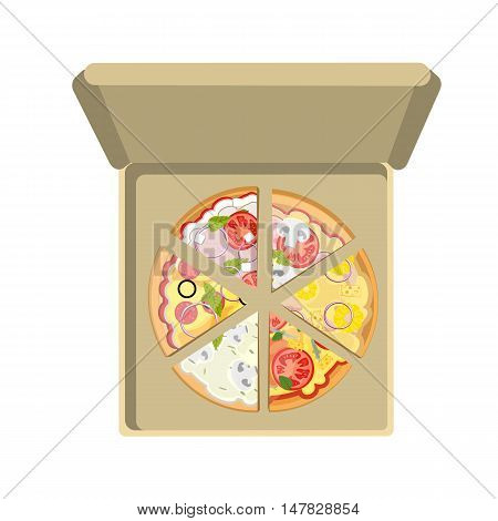 Assorted pizza in cardboard box on white background. Different pizza slices. Fast food meal. Pizza with cheese, tomatoes, salami, onion and more. Hot and fresh snack.