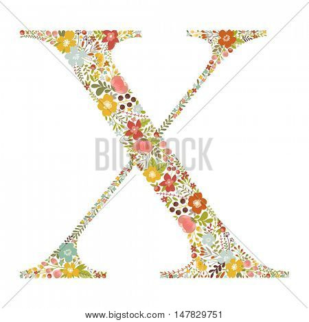X letter with decorative floral ornament