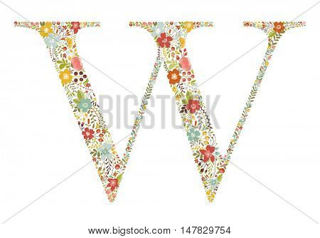 W letter with decorative floral ornament