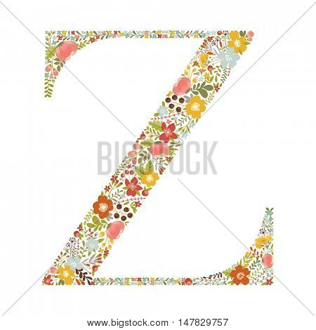 Z letter with decorative floral ornament