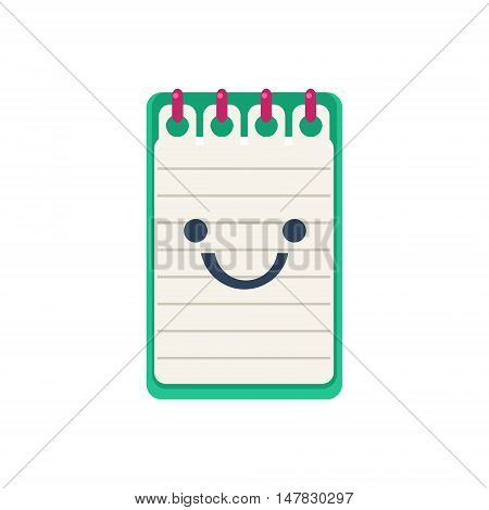Open Block Note Primitive Icon With Smiley Face. Office Or School Desk Supply Sticker In Simplified Childish Cartoon Vector Design Isolated On White Background