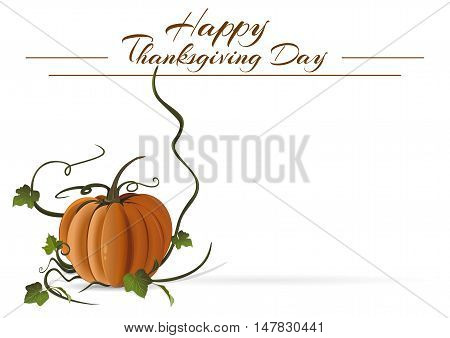 Thanksgiving Day card. Festive autumn background. Happy Thanksgiving Day. Vector background with pumpkin and with space for text
