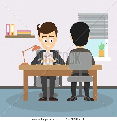 Businessman job interview. Boss interviewing new staff, findinf new office worker. Teambuilding and recruitment.