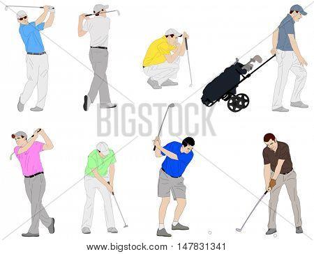 golfers detailed illustration - vector