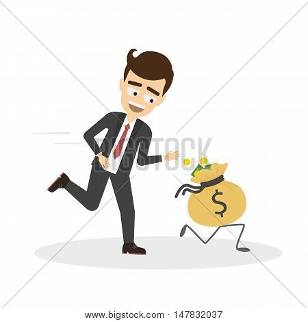 Businessman catching bag of money. Smiling man trying to catch wealth and success. Business competition.