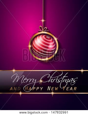 Christmas Vintage Classic Background with balls and star lights with a lot of space for text. Ideal  for outstanding greeting card or dinner invitations.