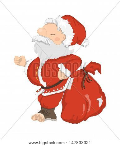 Funny Santa Claus. Funny haughty Santa with sack and glasses. Red suit and white beard. Symbol of New Year and Christmas.