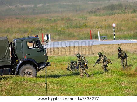 MOSCOW REGION  -   AUGUST 3: Infantry unit deployed in battle order for the operation  -  on August 3, 2015 in Moscow region