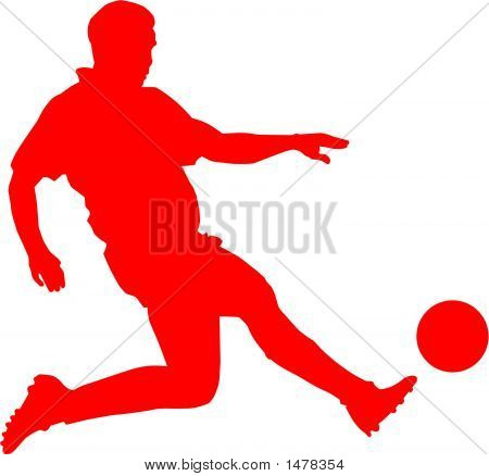 clip art of a footballer running in a stadion poster