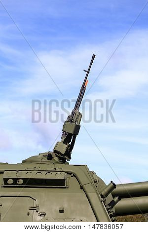 Rotating towerof the self-propelled gun consisting service of Russian army with 152 mm self-propelled howitzer and 127 millimeter anti-aircraft machine gun