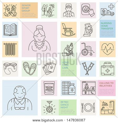Modern vector line icon of senior and elderly care. Nursing home elements - old people wheelchair leisure hospital call button leisure. Linear template for sites brochures. Editable strokes.